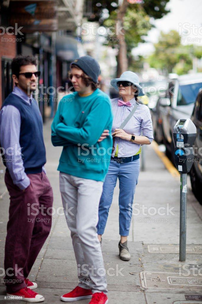 San Francisco Street Life talk stock photo