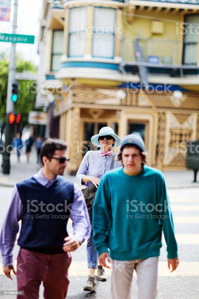 San Francisco Street Life talking stock photo