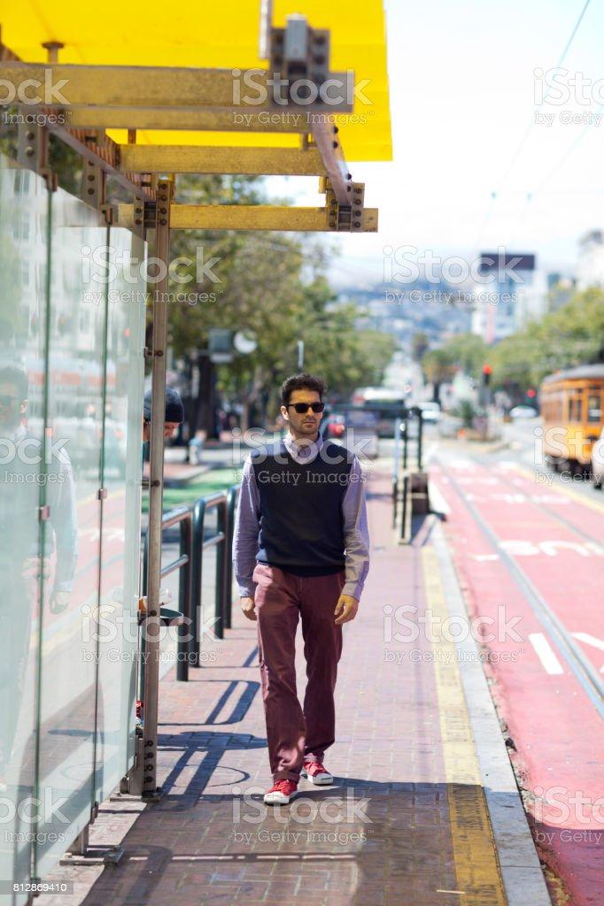 San Francisco Street Life tram station stock photo