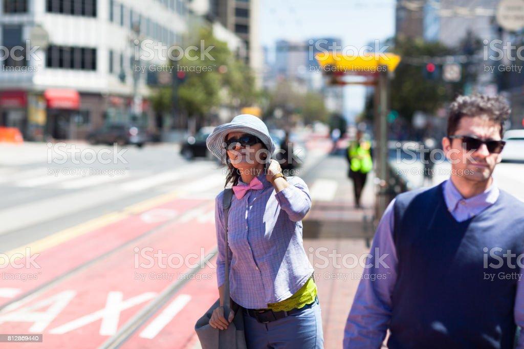 San Francisco Street Life waiting for tram stock photo