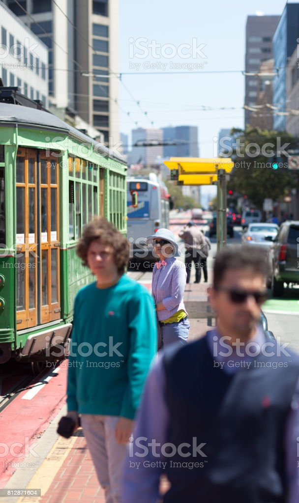San Francisco Street Life waiting tram stock photo