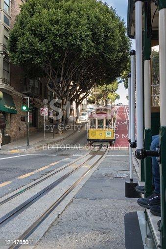 San Francisco, California, USA - March 2020: View of Powell Street heading north in San Francisco. Wonderful view of the streets of San Francisco from Cable Car.