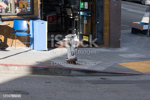 San Francisco, California, USA - March 2020: View of water hydrant on Powell Street.