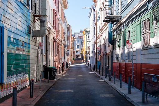 San Francisco, California, USA - Colourful narrow street of Telegraph Hill district.