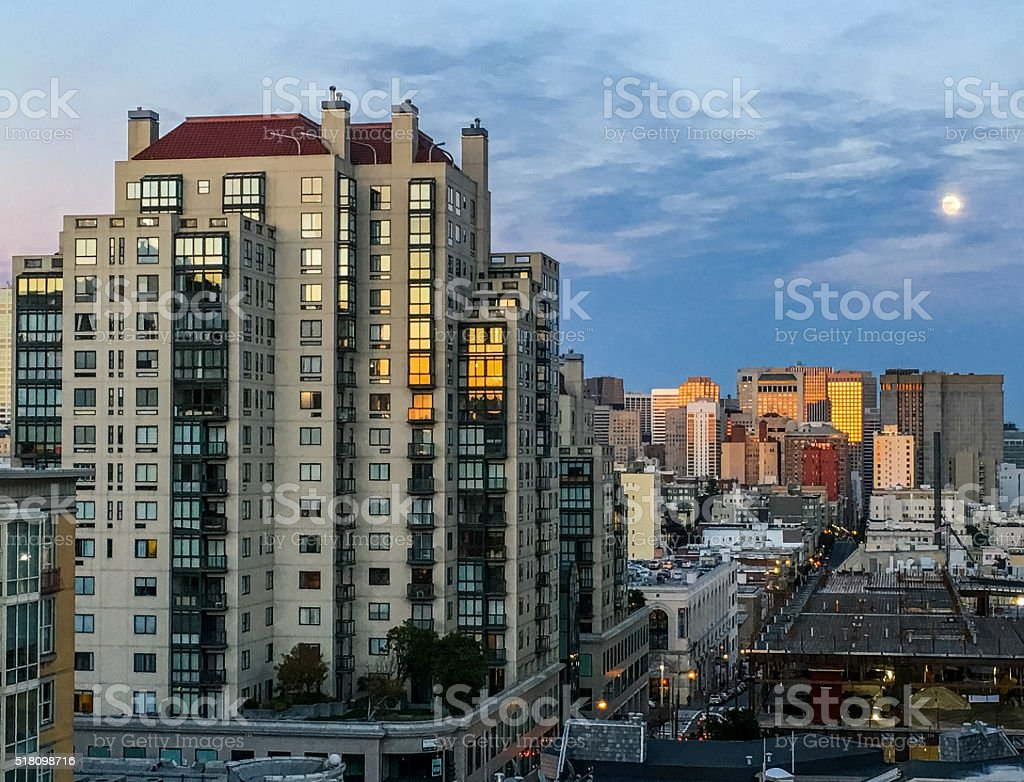 San Francisco sunset with the moon visible stock photo