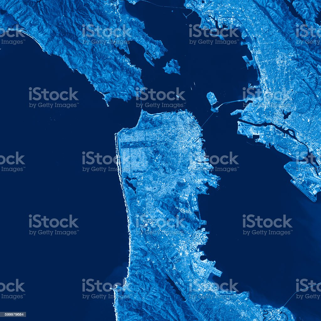 San Francisco Topographic Map Blue Color Top View Stock Photo & More ...