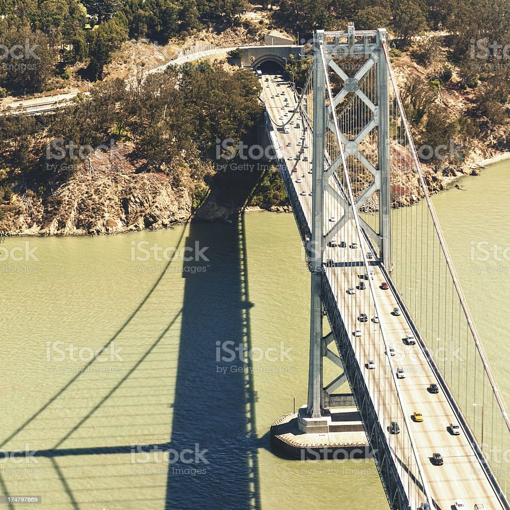 San Francisco traffic on Bay Bridge from the helicopter royalty-free stock photo