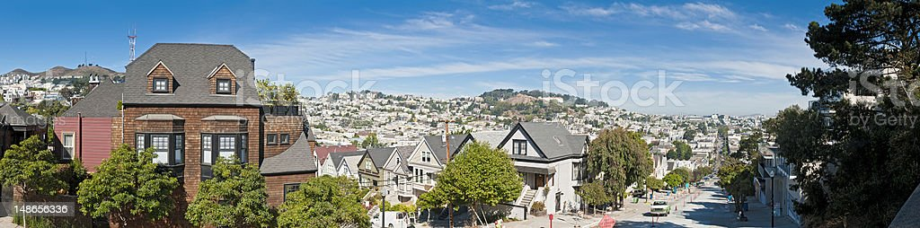 San Francisco tranquil suburbs wooden villas quiet street panorama California royalty-free stock photo