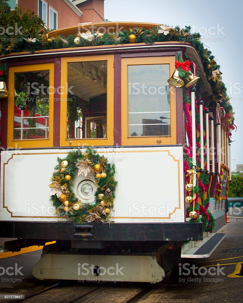 San Francisco Trolley with No Signs During the Holidays stock photo