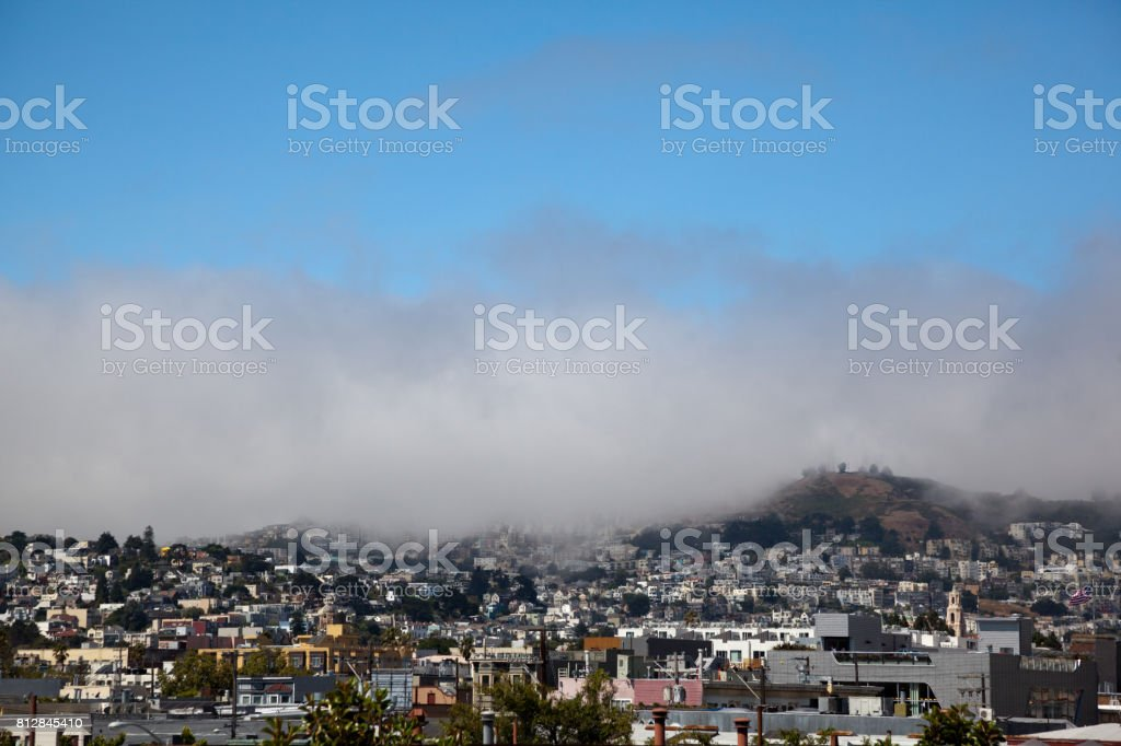 San Francisco Twin Peaks Summer mid day Fog stock photo