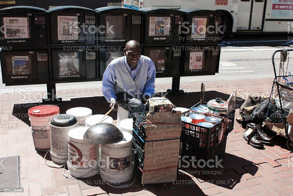 San Francisco, USA - 12 June 2010. Black street musician stock photo