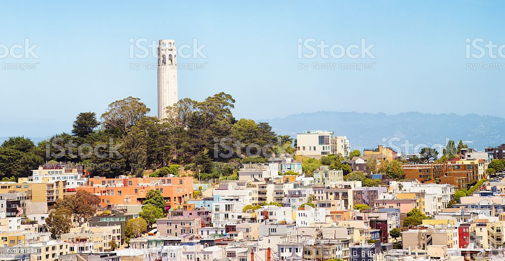 San Francisco USA Telegaph hill and Coit Tower panorama stock photo