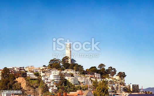 istock San Francisco USA Telegaph hill and Coit Tower with blue clear sky 1080359846