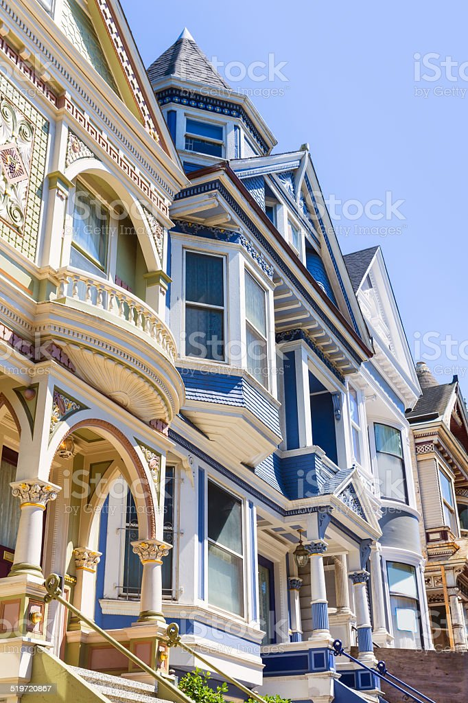 San Francisco Victorian houses in Haight Ashbury California stock photo