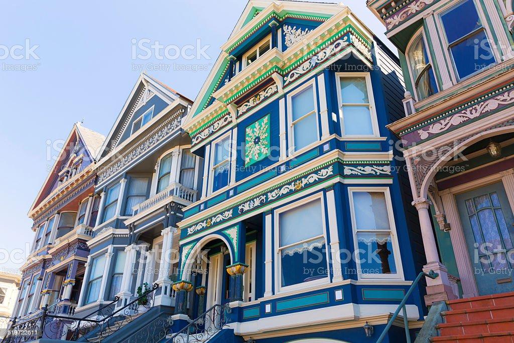 San Francisco Victorian houses in Haight Ashbury California stock photo