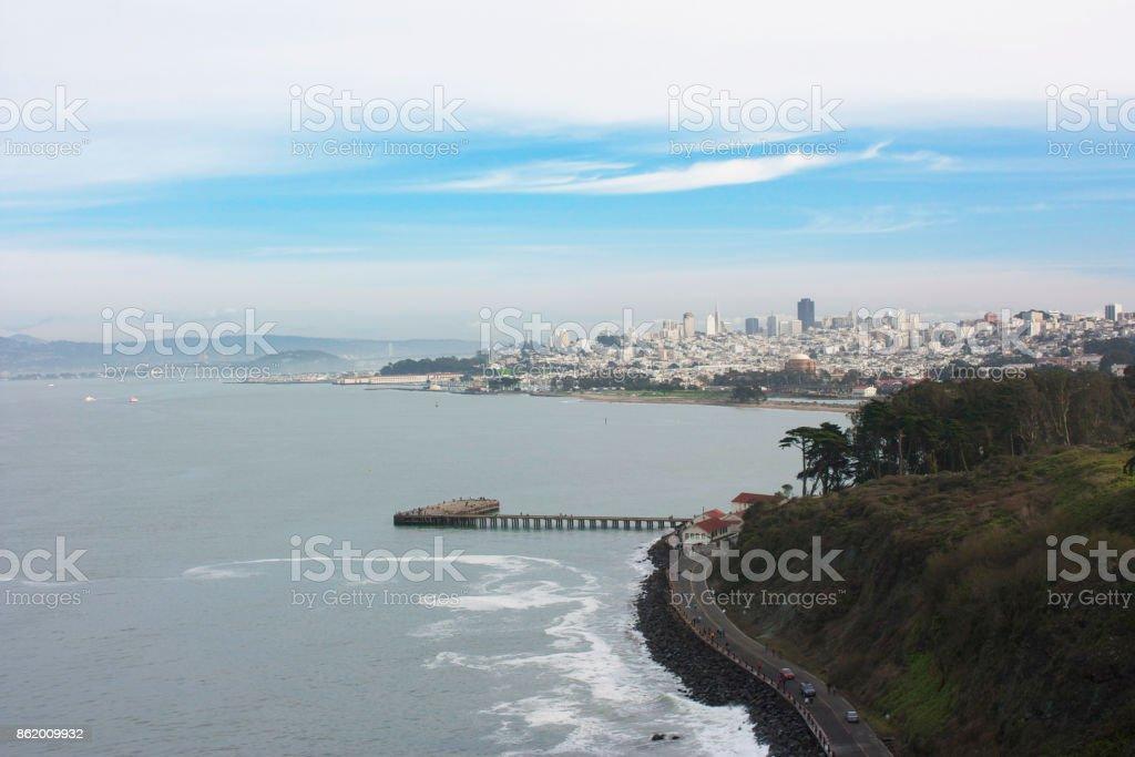 San Francisco view from the Golden Gate Bridge, California USA stock photo