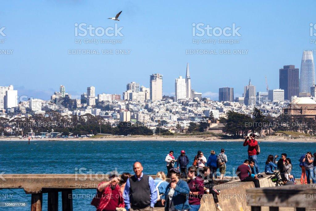 San Francisco view from Torpedo Wharf stock photo