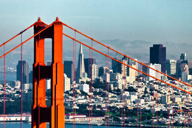 San Francisco with the Golden Gate bridge San Francisco from San Francisco Headlands golden gate bridge stock pictures, royalty-free photos & images