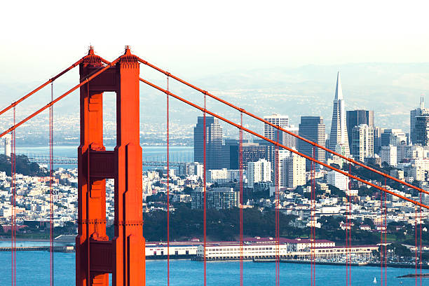 san francisco with the golden gate bridge - international landmark stock photos and pictures