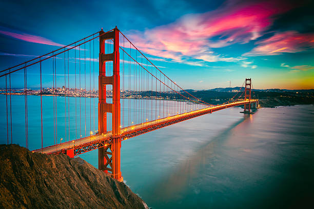 San Francisco with the Golden Gate bridge San Francisco from San Francisco Headlands and Golden Gate bridge golden gate bridge stock pictures, royalty-free photos & images