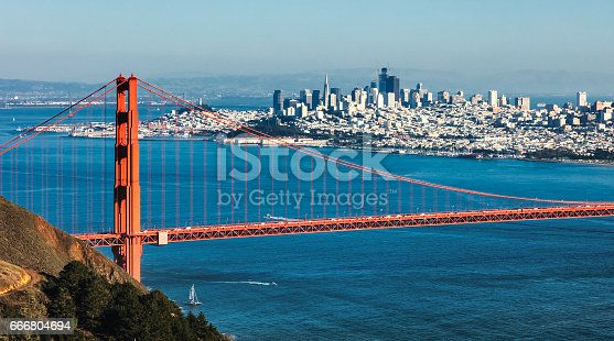 530755444 istock photo San Francisco with the Golden Gate bridge 666804694