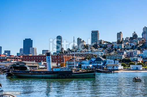 View of the San Francisco Bay with an old wheeled ship in the foreground