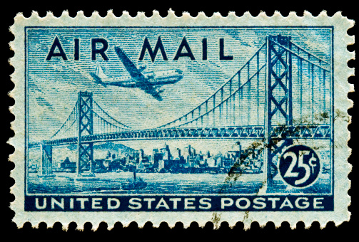 San Francisco-Oakland Bay Bridge and Boeing B337 Stratocruiser Airmail stamp Issued in 1947