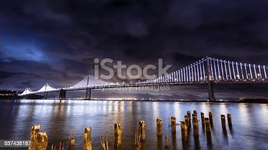 San Francisco-Oakland Bay Bridge illuminated at night