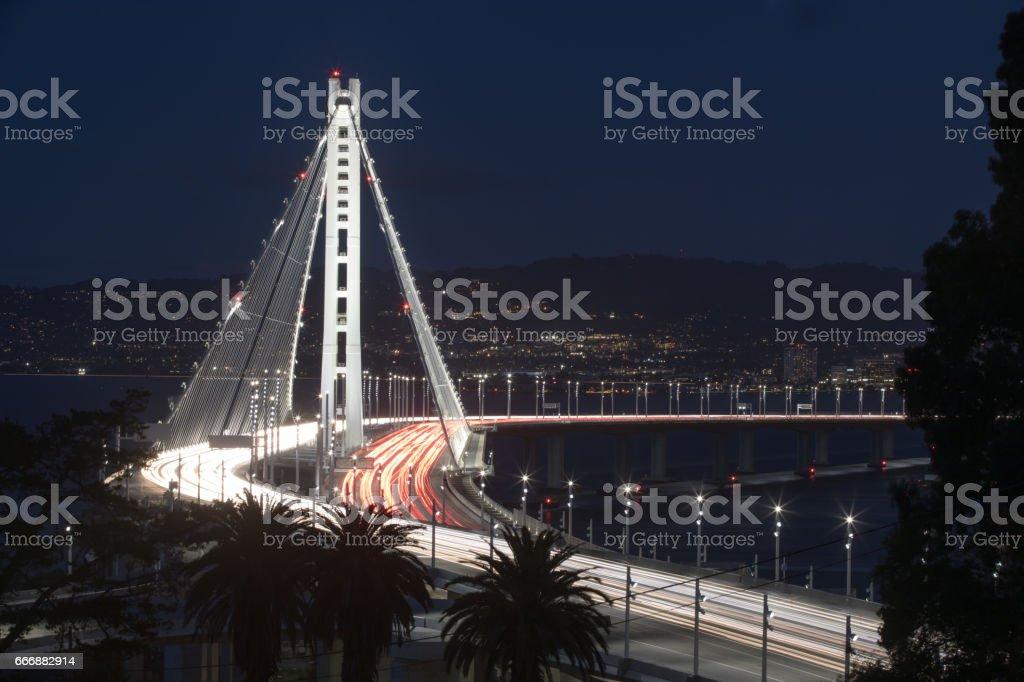 San Francisco-Oakland Bay Bridge Eastern Span at Night. stock photo