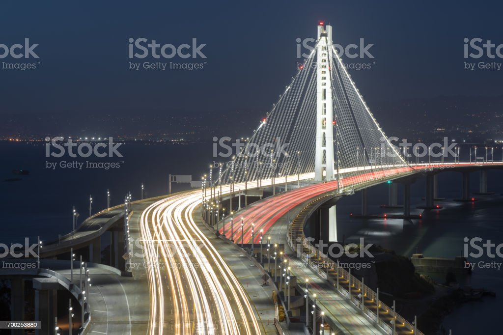 San Francisco-Oakland Bay Bridge Eastern Span at Night. stock photo