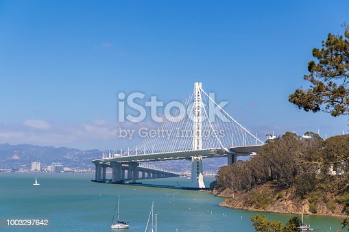 A stock photo of the San Francisco/Oakland Bay Bridge in San Francisco, California.