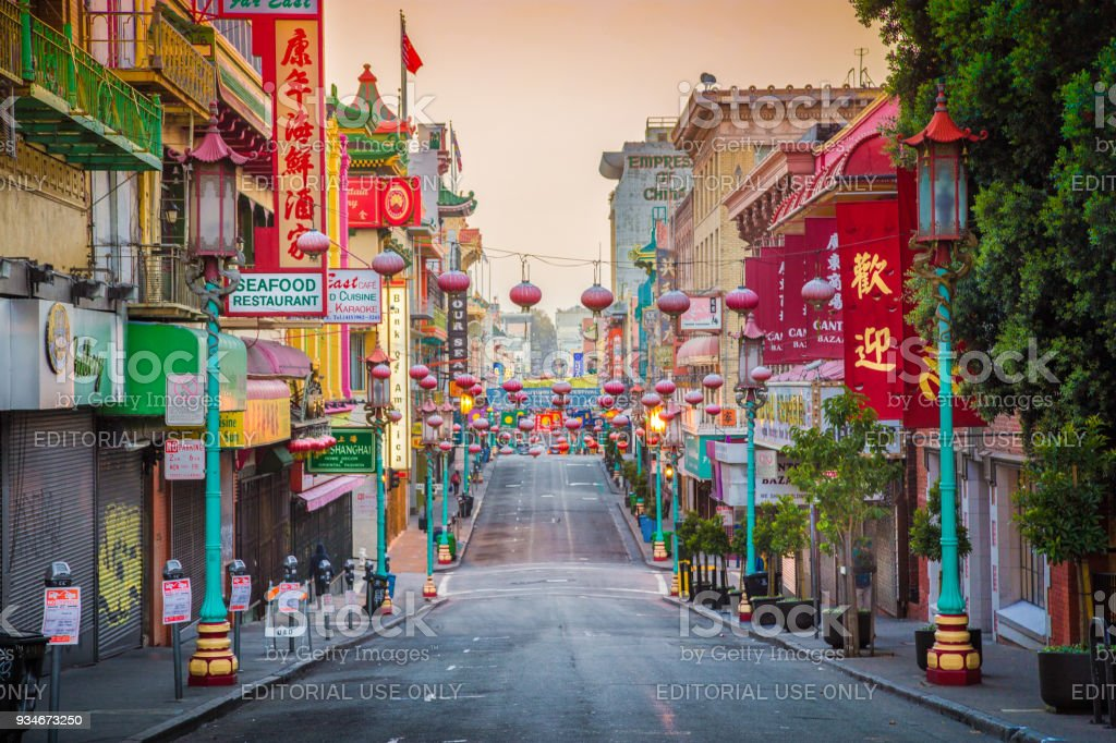 San Francisco's Chinatown at sunrise, California, USA stock photo
