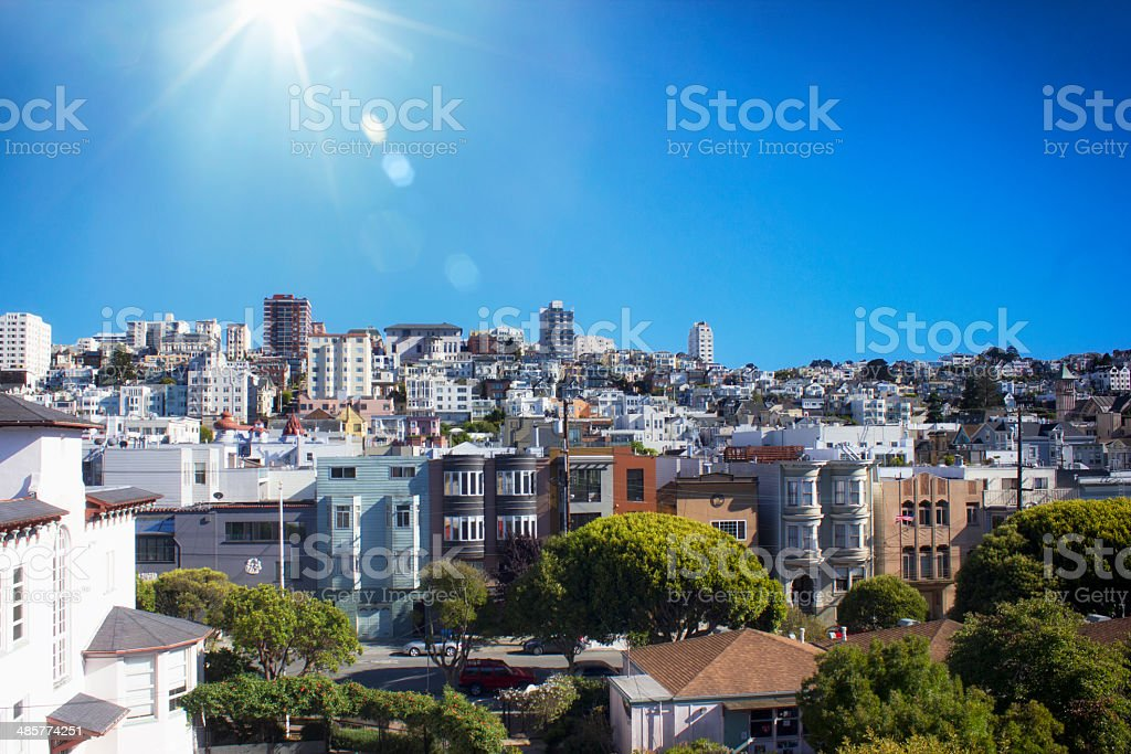 San Fransicsco skyline on a beautifuly sunny day stock photo