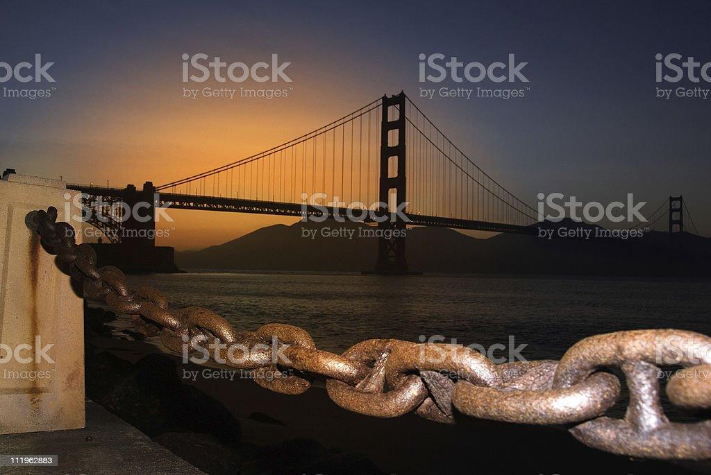 San Fransisco Golden Gate Bridge at sunset royalty-free stock photo