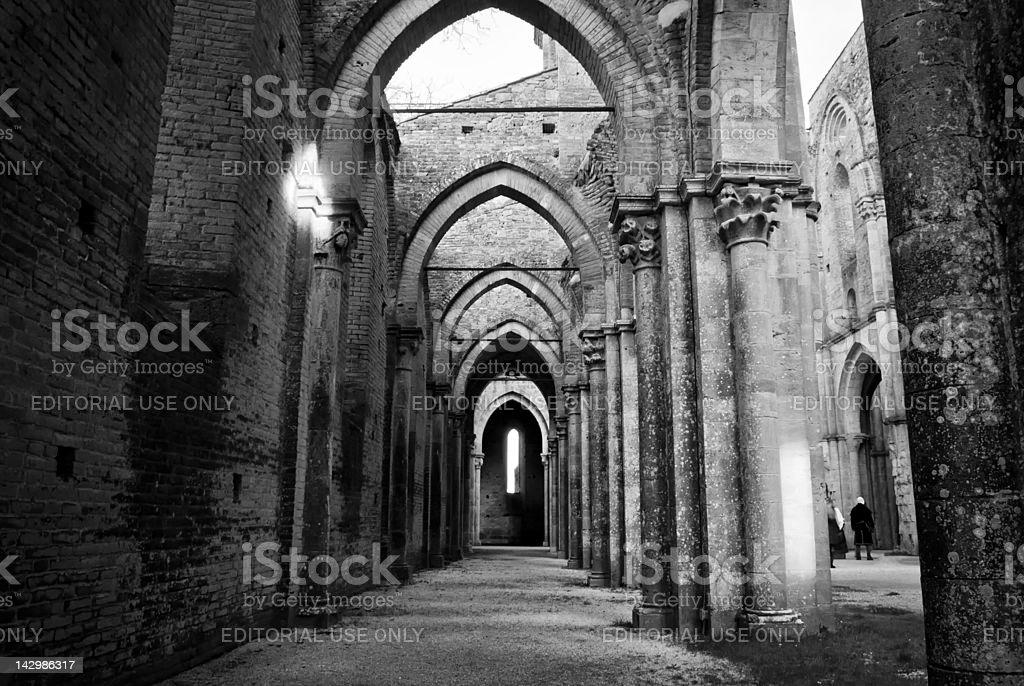 San Galgano Abbey black and white stock photo