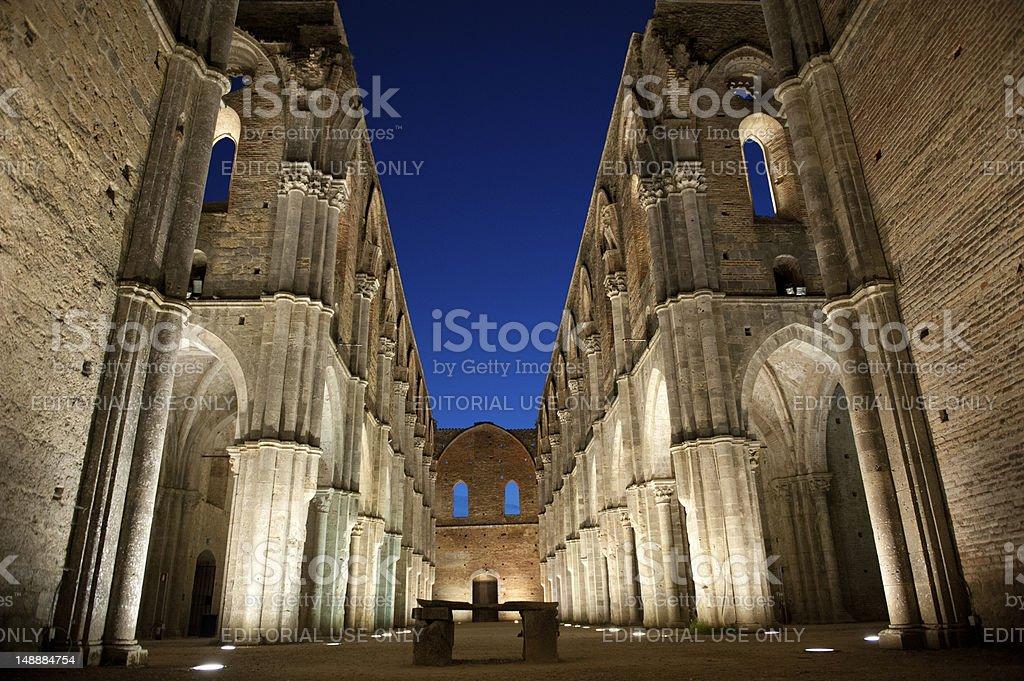 San Galgano abbey by night stock photo