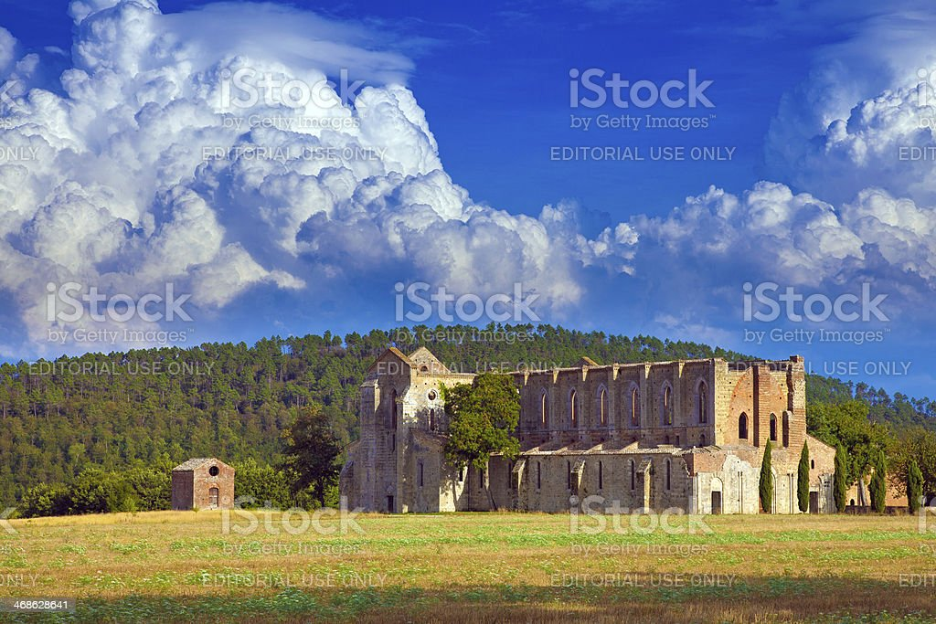 San Galgano abbey in Tuscany, Italy stock photo
