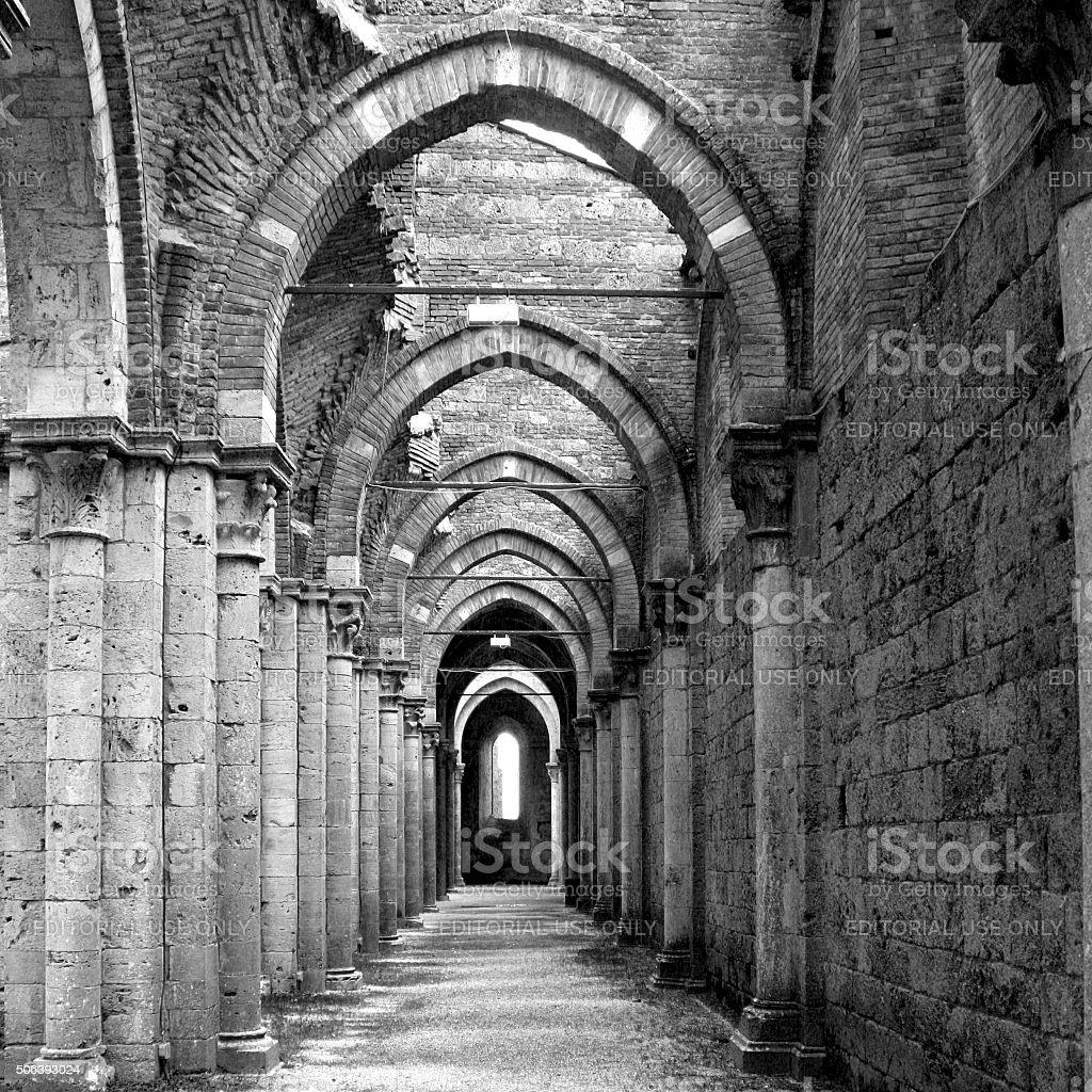 Siena, Italy - December 6, 2009: San Galgano Abbey stock photo