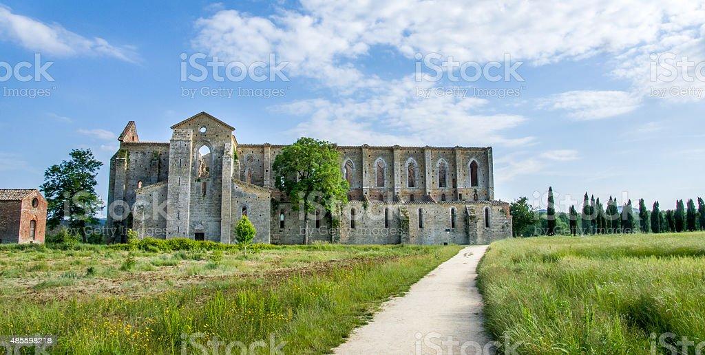 San Galgano Church ruins in Siena (Tuscany - Italy) stock photo