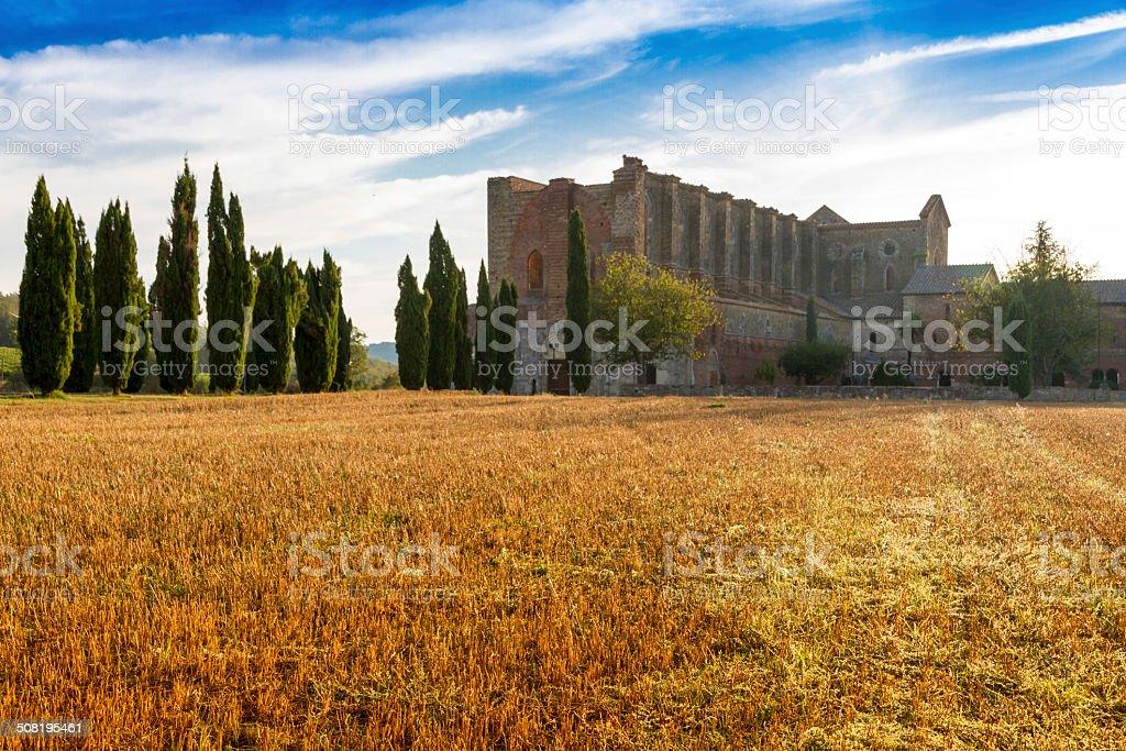 San Galgano roofless Abbey in Tuscany, Italy stock photo