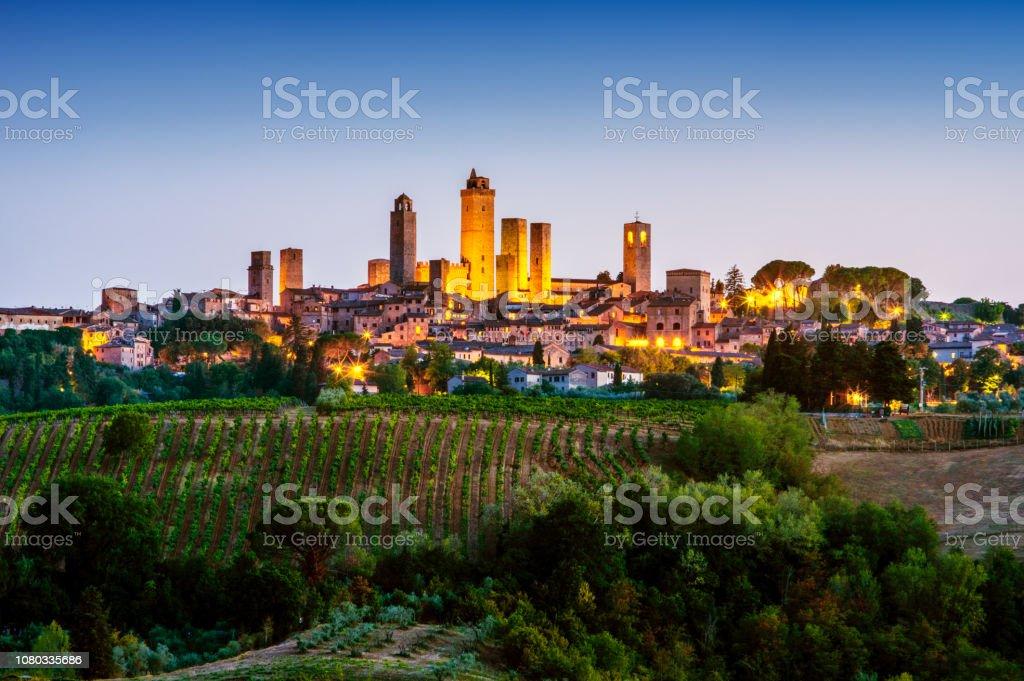 San Gimignano at dusk. Tuscany. Italy stock photo