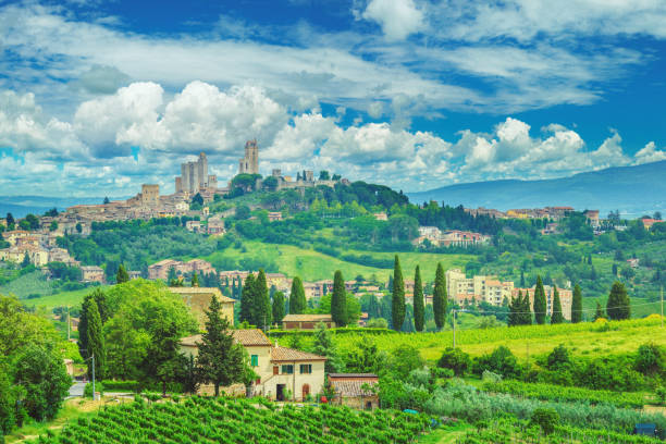 San Gimignano in Tuscany and the italian countryside stock photo