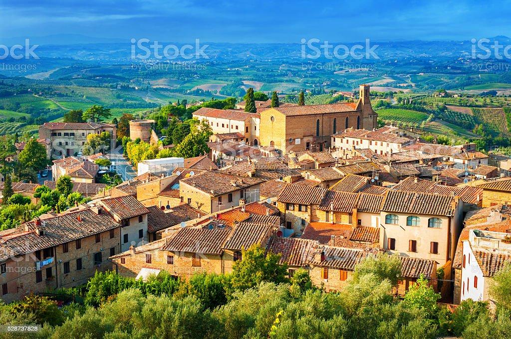 San Gimignano medieval town, Tuscany Italy. stock photo