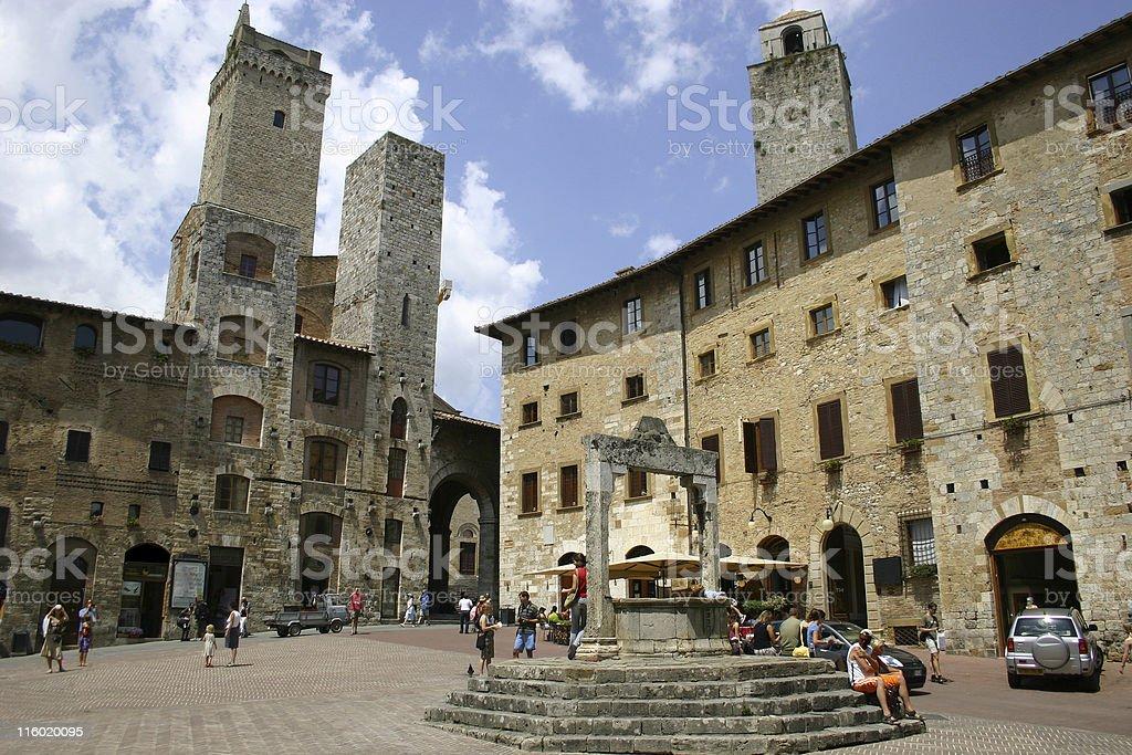 San Gimignano, Piazza della Cisterna stock photo