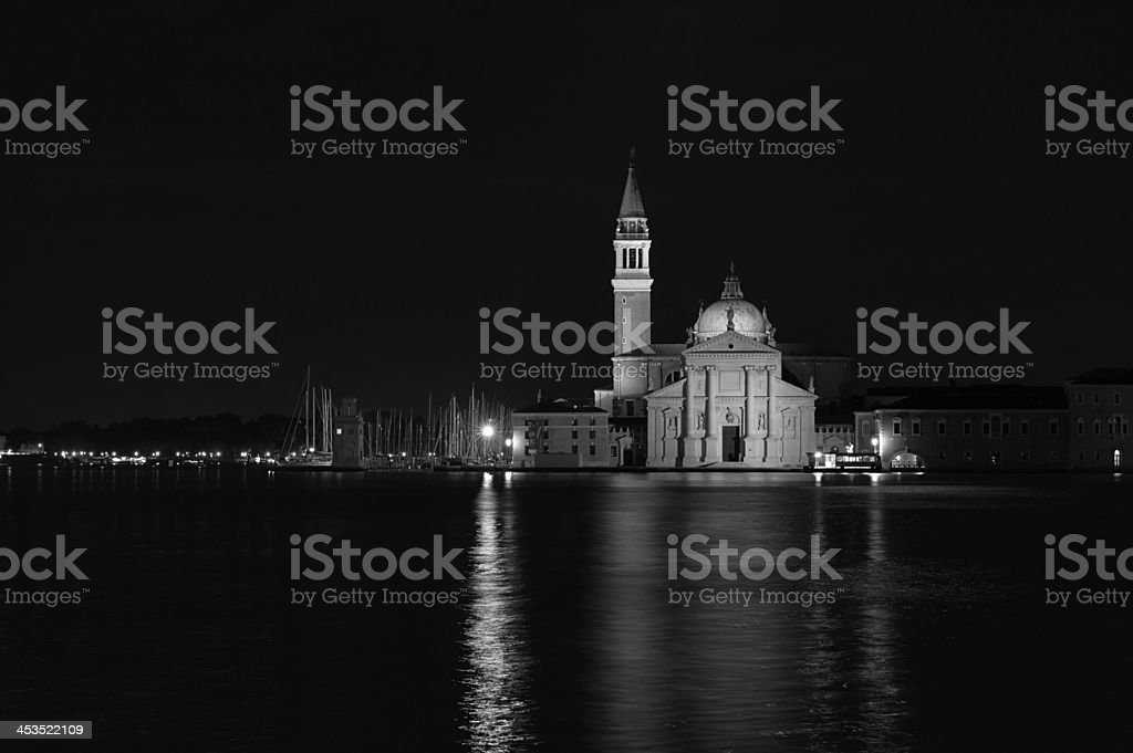 San Giorgio Maggiore church Long exposure By Night. Blurred moti royalty-free stock photo