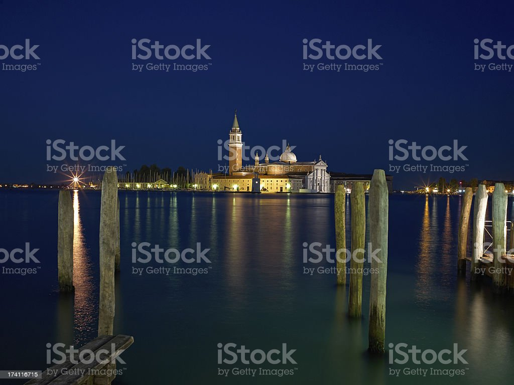 San Giorgio Maggiore church Long exposure By Night. royalty-free stock photo