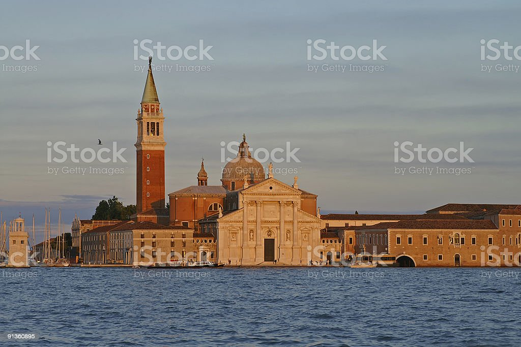 San Giorgio Maggiore shined by beams of the coming sun royalty-free stock photo