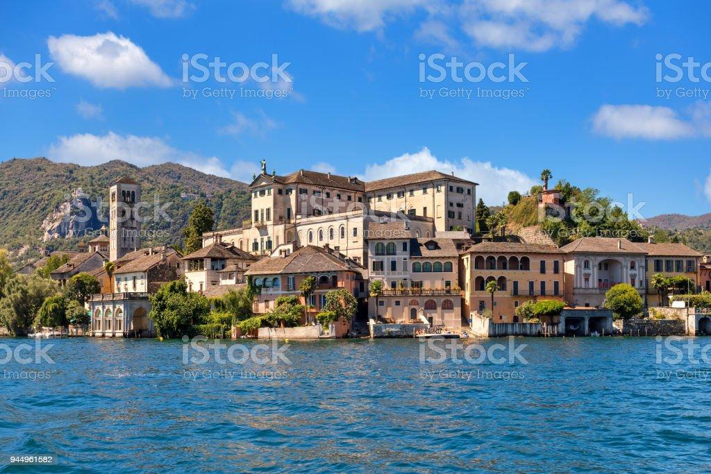 San Giulio island on Lake Orta in Italy. stock photo