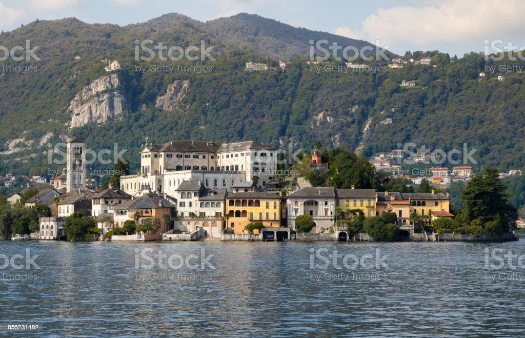 San Giulio island on Orta Lake stock photo