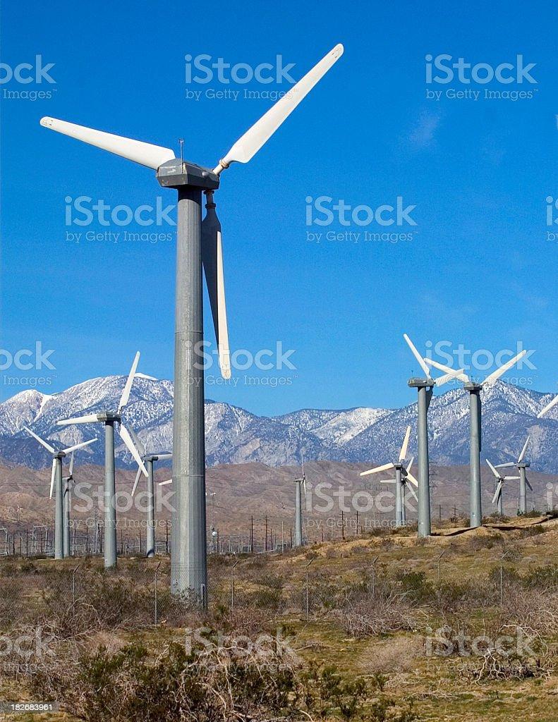 San Gorgonio Pass Wind Farm Turbines Generating Renewable Energy royalty-free stock photo
